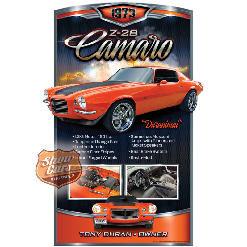 1973-Z-28-Camaro-Solid-Muscle-Theme-Show-Cars-Illustrated-Car-Show-Signs
