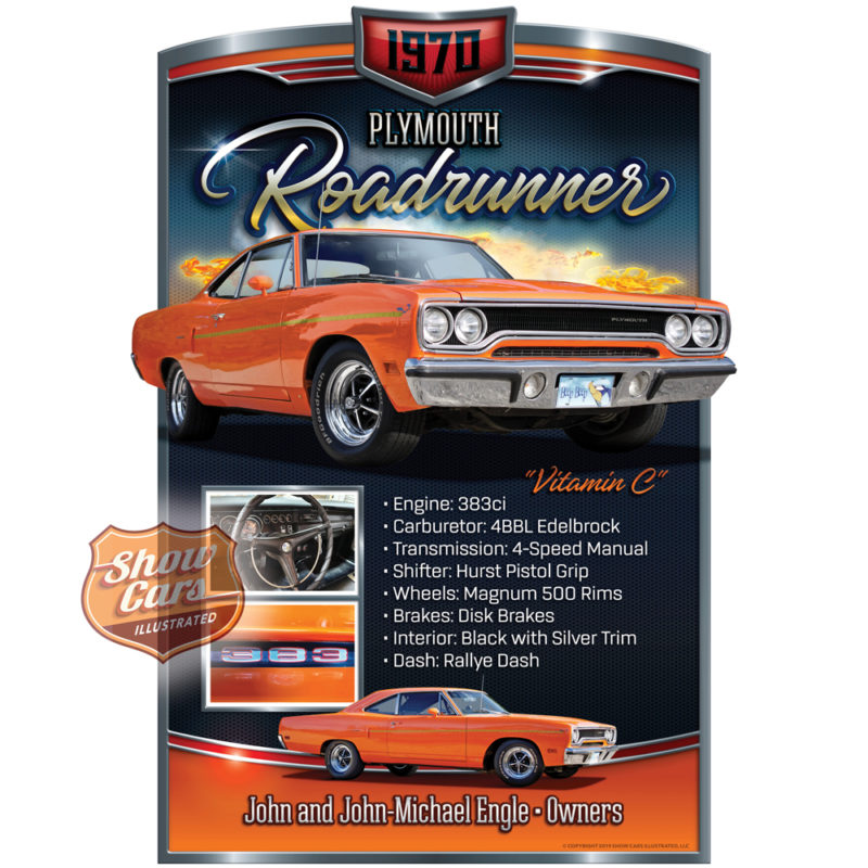 Solid-Muscle-Theme-Show-Cars-Illustrated-Car-Show-Signs-1970-Road-Runner